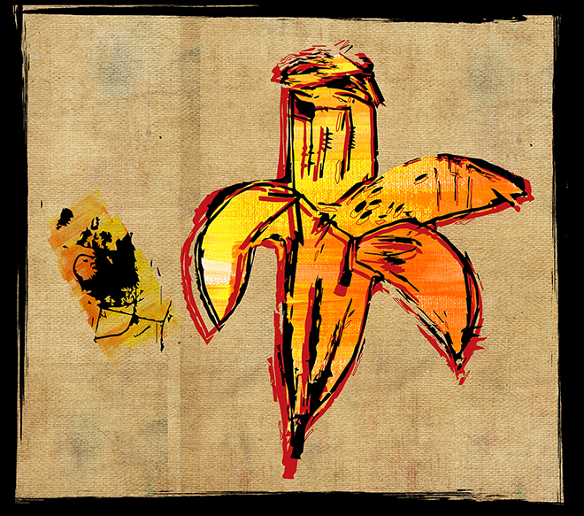 Jean-Michel Basquiat, Brown Spots (Portrait of Andy Warhol as a Banana), 1984